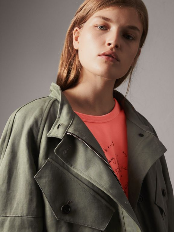 Ramie Cotton Jacket with Shearling Warmer in Slate Green | Burberry - cell image 1