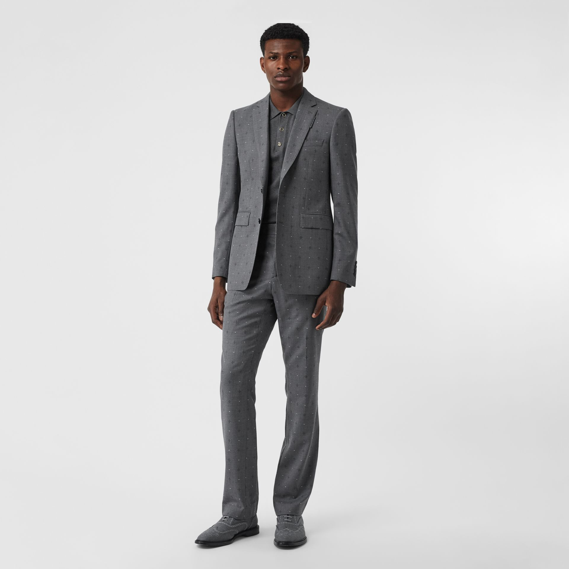 English Fit Fil Coupé Wool Cotton Tailored Jacket in Mid Grey Melange - Men | Burberry - gallery image 0