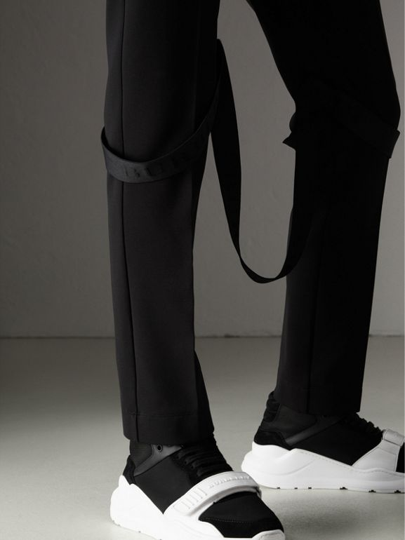 Strap Detail Jersey Tailored Trousers in Black - Women | Burberry United Kingdom - cell image 1