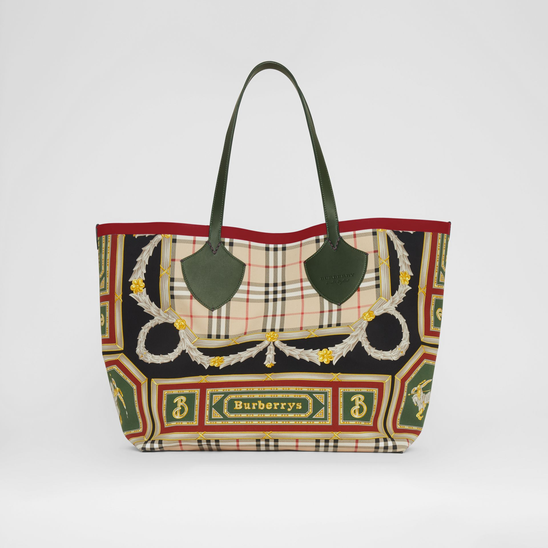 The Giant Reversible Tote in Archive Scarf Print Cotton in Dark Forest Green/burgundy - Women | Burberry - gallery image 0