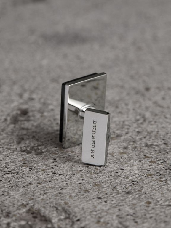 Engraved Enamel Cufflinks in Black - Men | Burberry - cell image 1