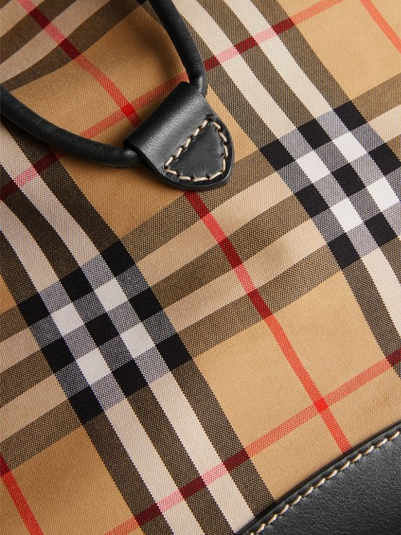 Vintage Check and Leather Backpack in Clementine - Men | Burberry United States - cell image 1