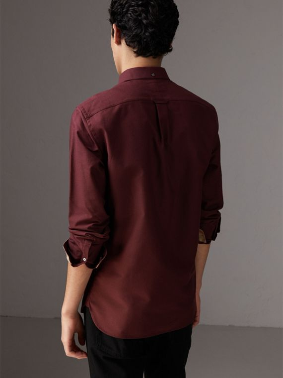 Check Detail Cotton Oxford Shirt in Oxblood - Men | Burberry United Kingdom - cell image 2