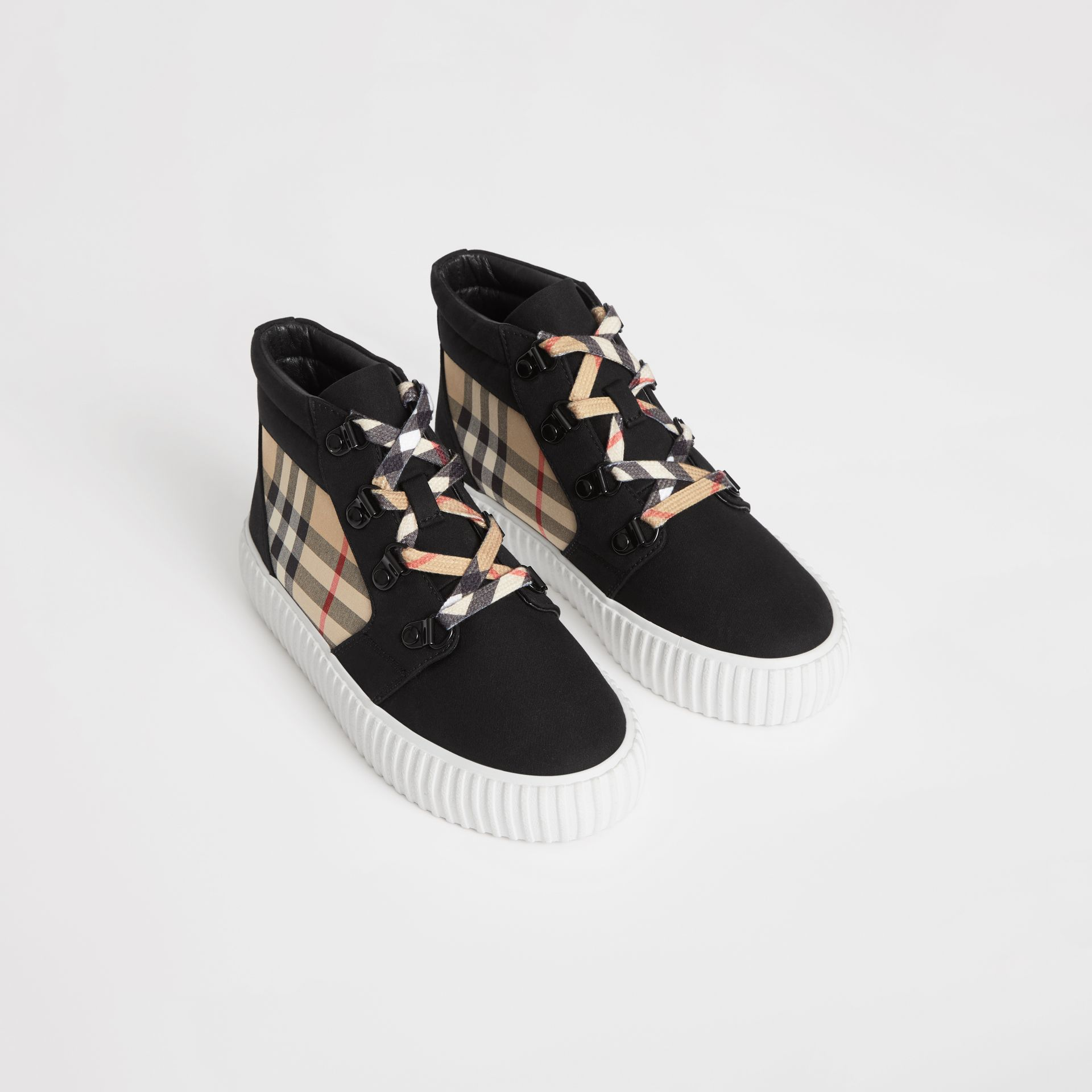 Vintage Check Detail High-top Sneakers in Archive Beige/black - Children | Burberry - gallery image 0