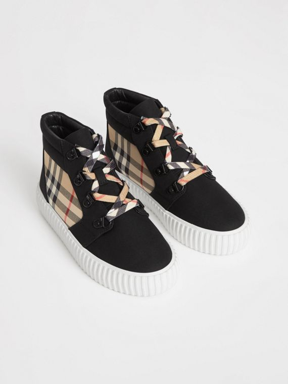 Vintage Check Detail High-top Sneakers in Archive Beige/black