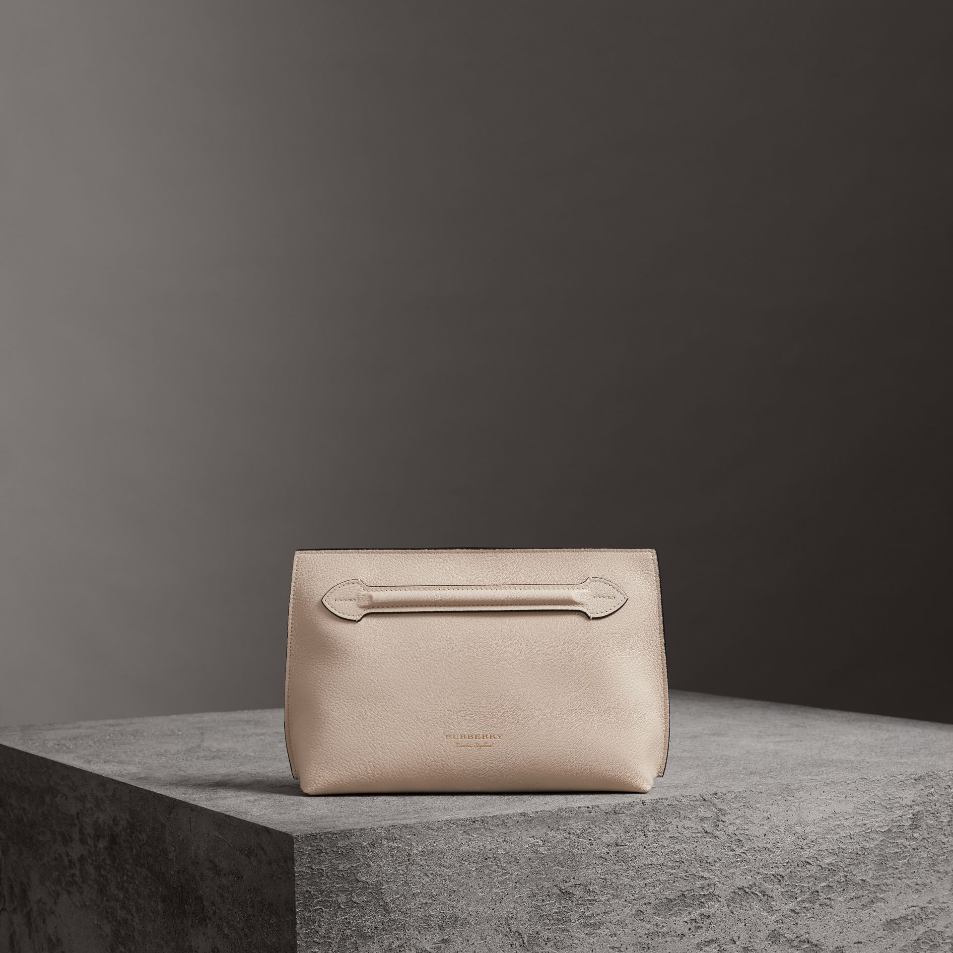 Grainy Leather Wristlet Clutch in Stone - Women | Burberry - gallery image 0