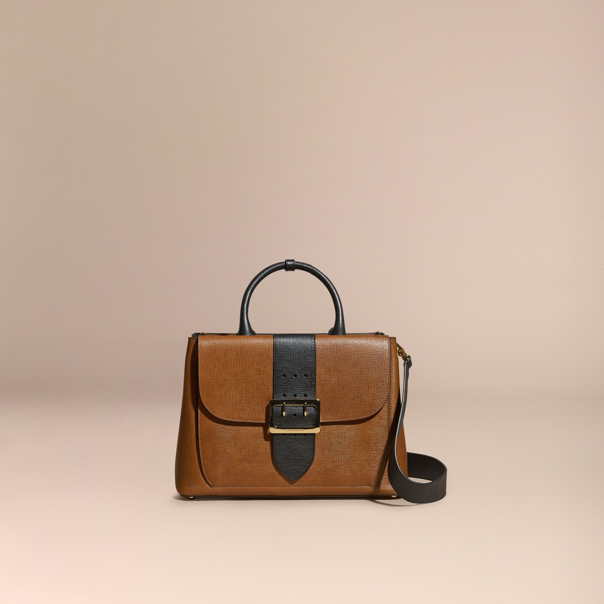 Tan The Medium Saddle Bag in Textured Bonded Leather - gallery image 9