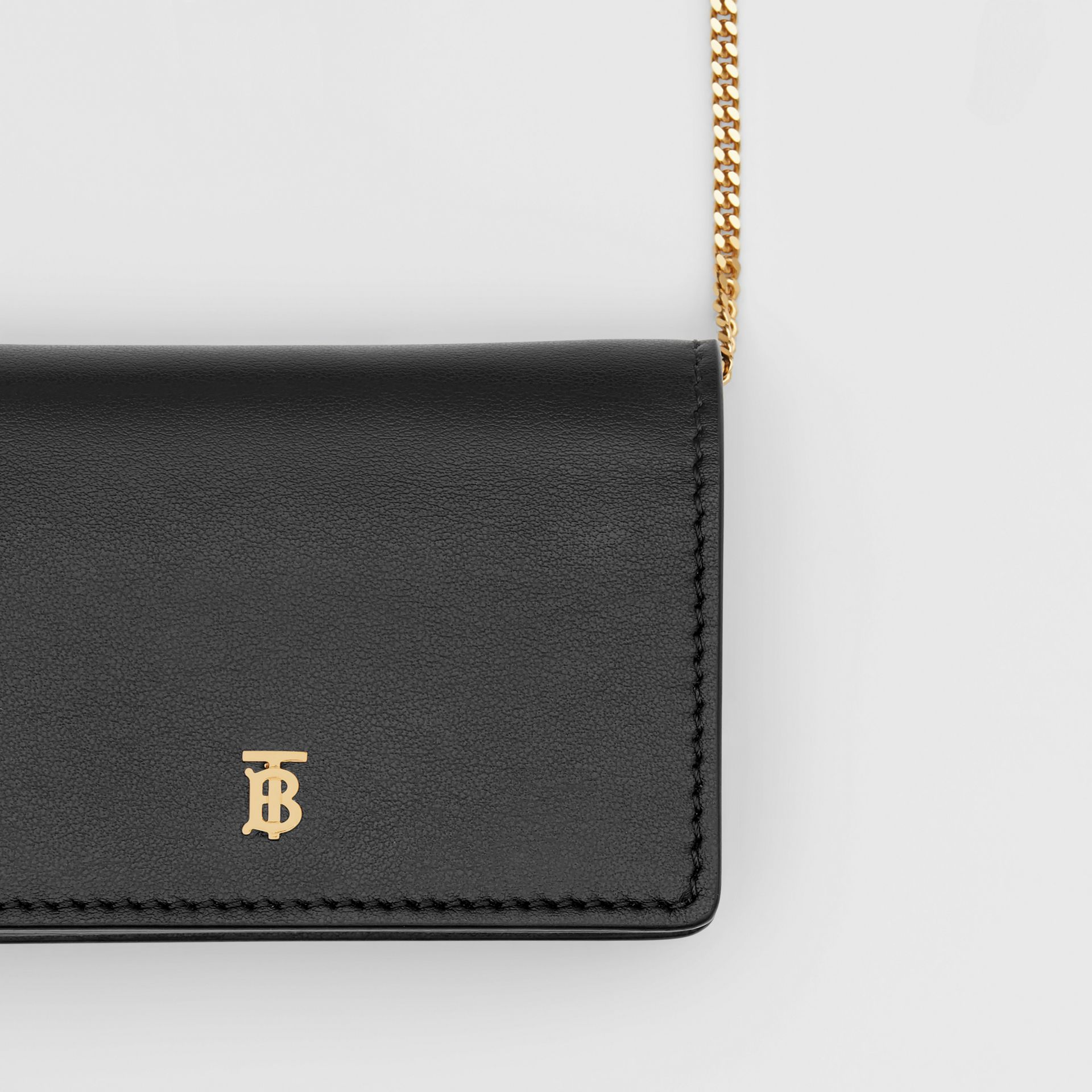 Leather Card Case with Detachable Strap in Black - Women | Burberry - gallery image 1