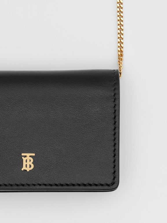 Leather Card Case with Detachable Strap in Black - Women | Burberry - cell image 1