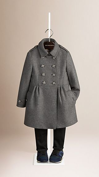 Virgin Wool Cashmere Blend Military Coat