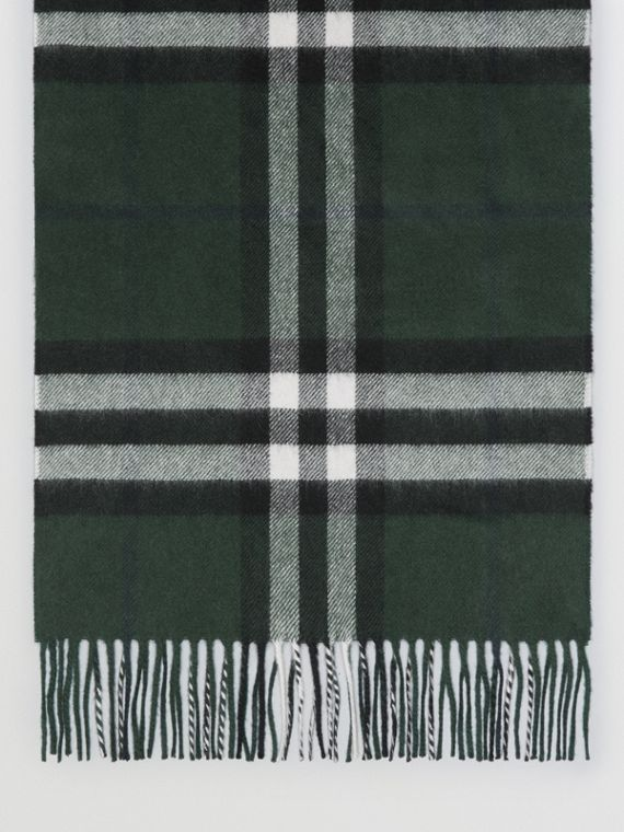 Gosha x Burberry Check Cashmere Double Scarf in Dark Forest Green