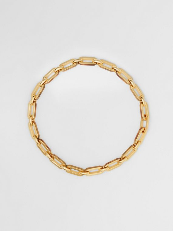Resin and Gold-plated Chain Link Necklace in Light Gold/horn