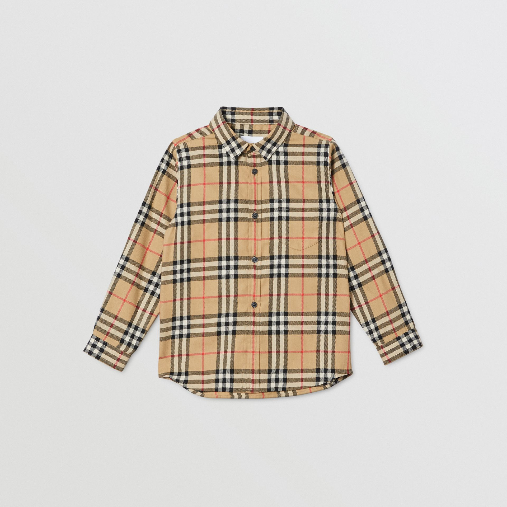 Vintage Check Cotton Flannel Shirt in Archive Beige | Burberry Australia - gallery image 0