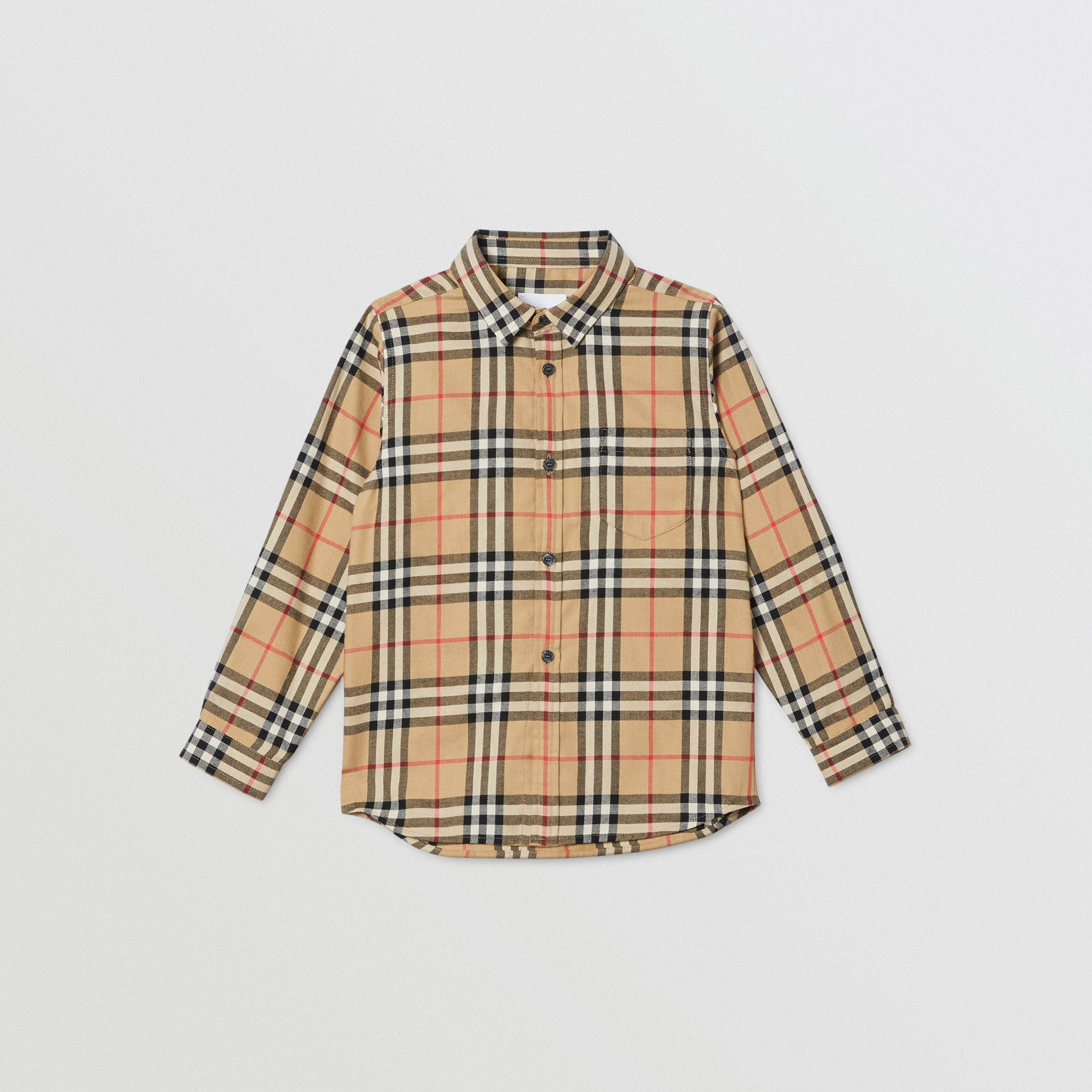 Vintage Check Cotton Flannel Shirt in Archive Beige | Burberry - 1