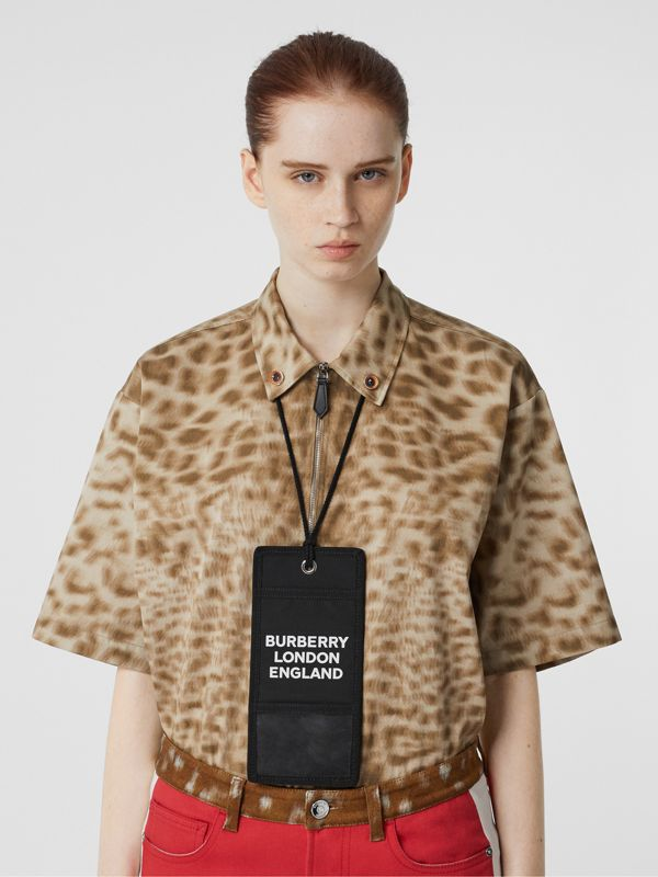 Logo Print Card Case Lanyard in Black | Burberry - cell image 2