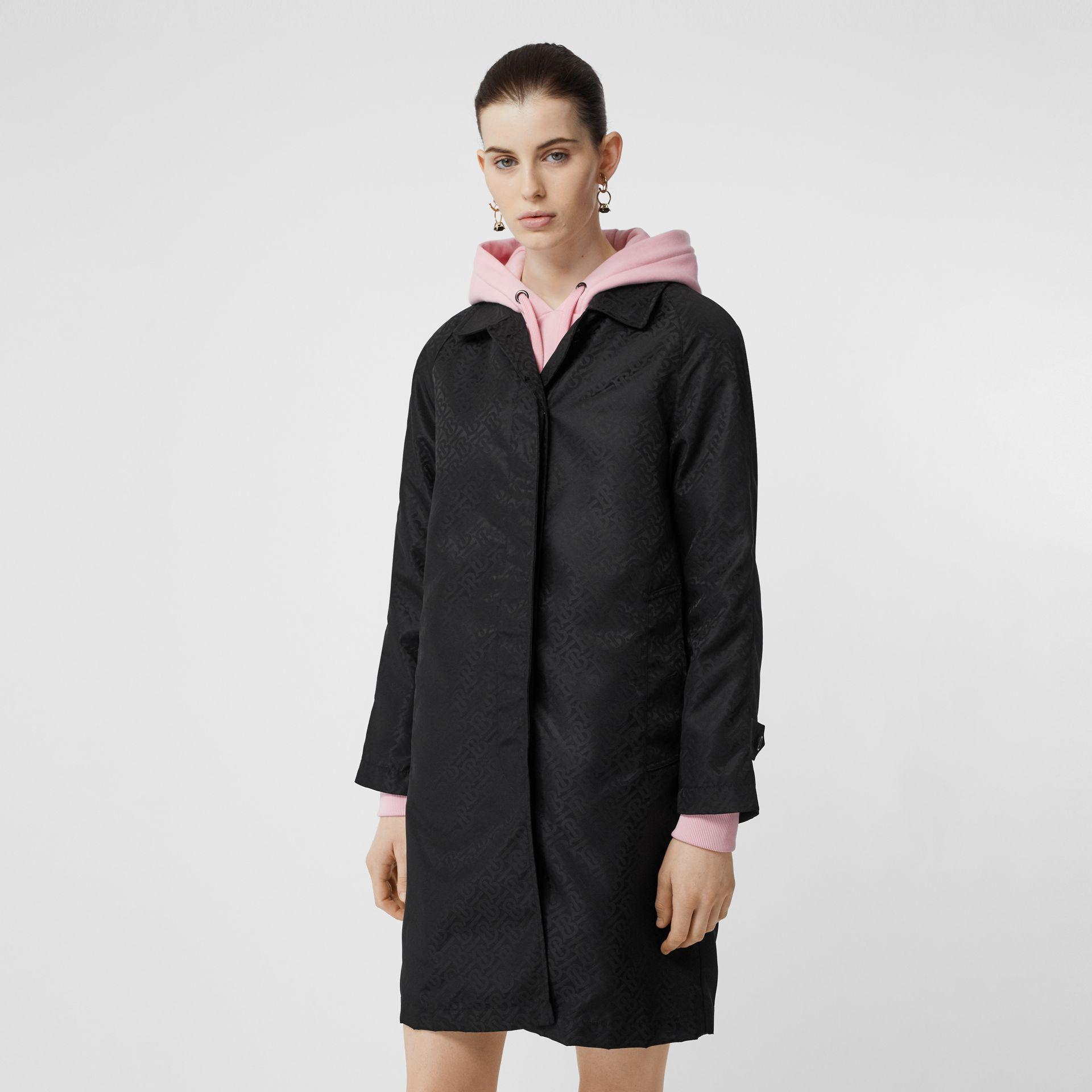 Monogram ECONYL® Jacquard Car Coat in Black - Women | Burberry Australia - gallery image 6