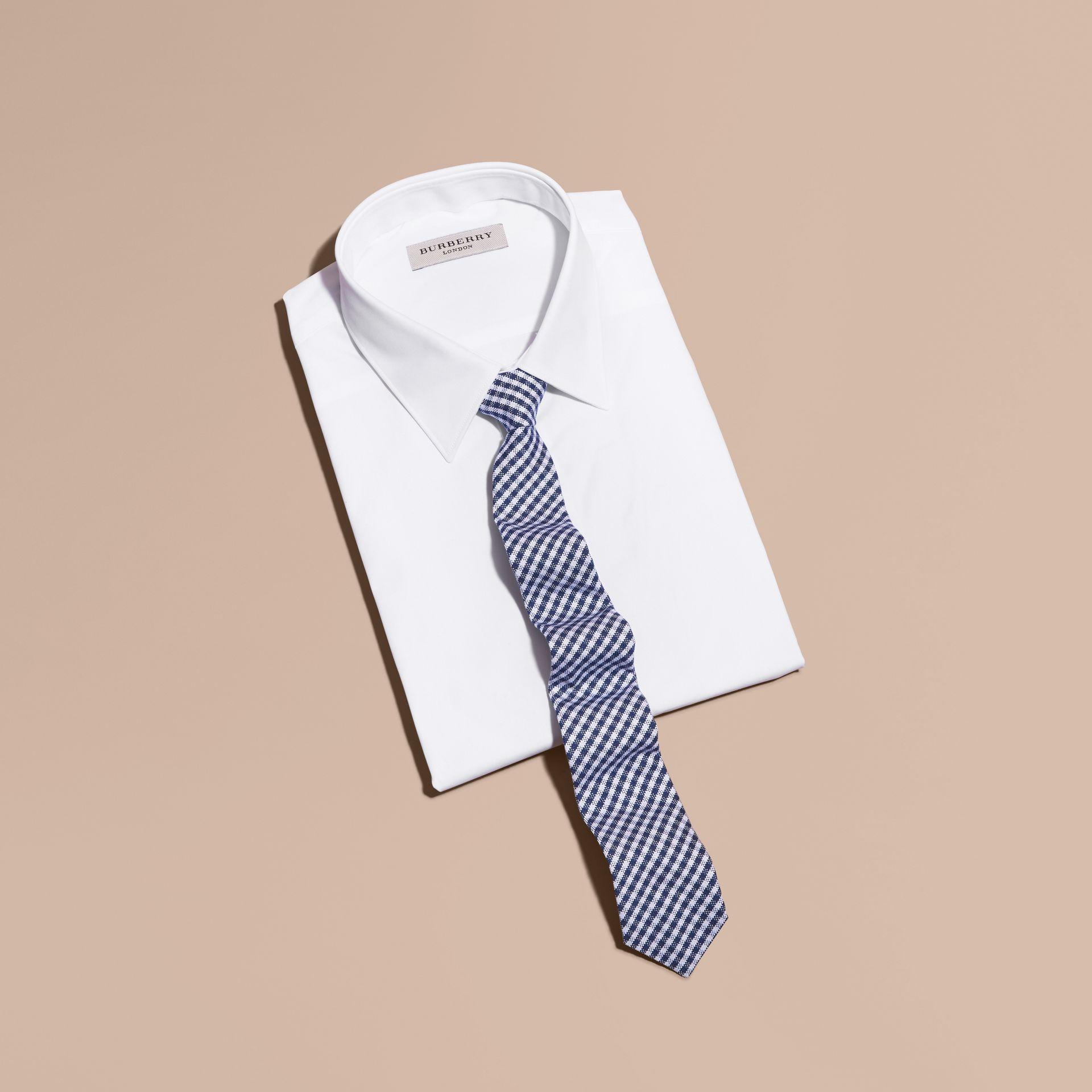 Brilliant blue Slim Cut Cotton Silk Gingham Tie Brilliant Blue - gallery image 3