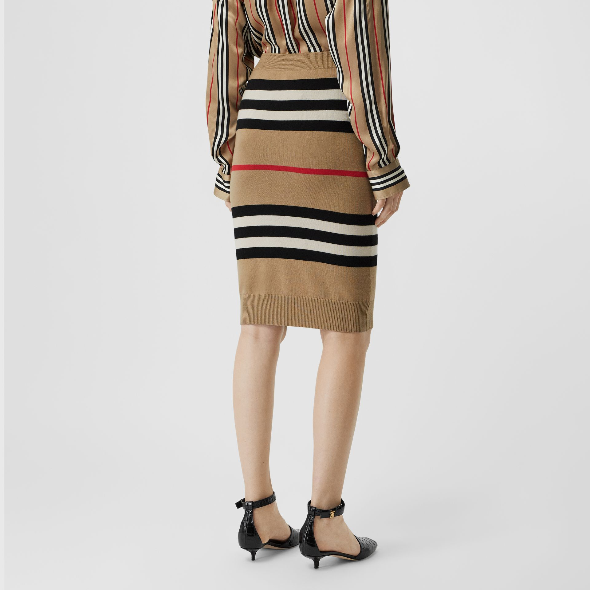 Icon Stripe Merino Wool Pencil Skirt in Archive Beige - Women | Burberry - gallery image 2