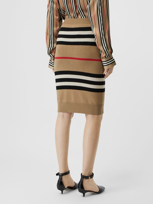 Icon Stripe Merino Wool Pencil Skirt in Archive Beige - Women | Burberry - cell image 2