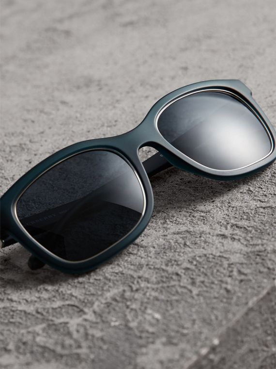 Embossed Check Detail Square Frame Sunglasses in Navy - Men | Burberry Singapore - cell image 2