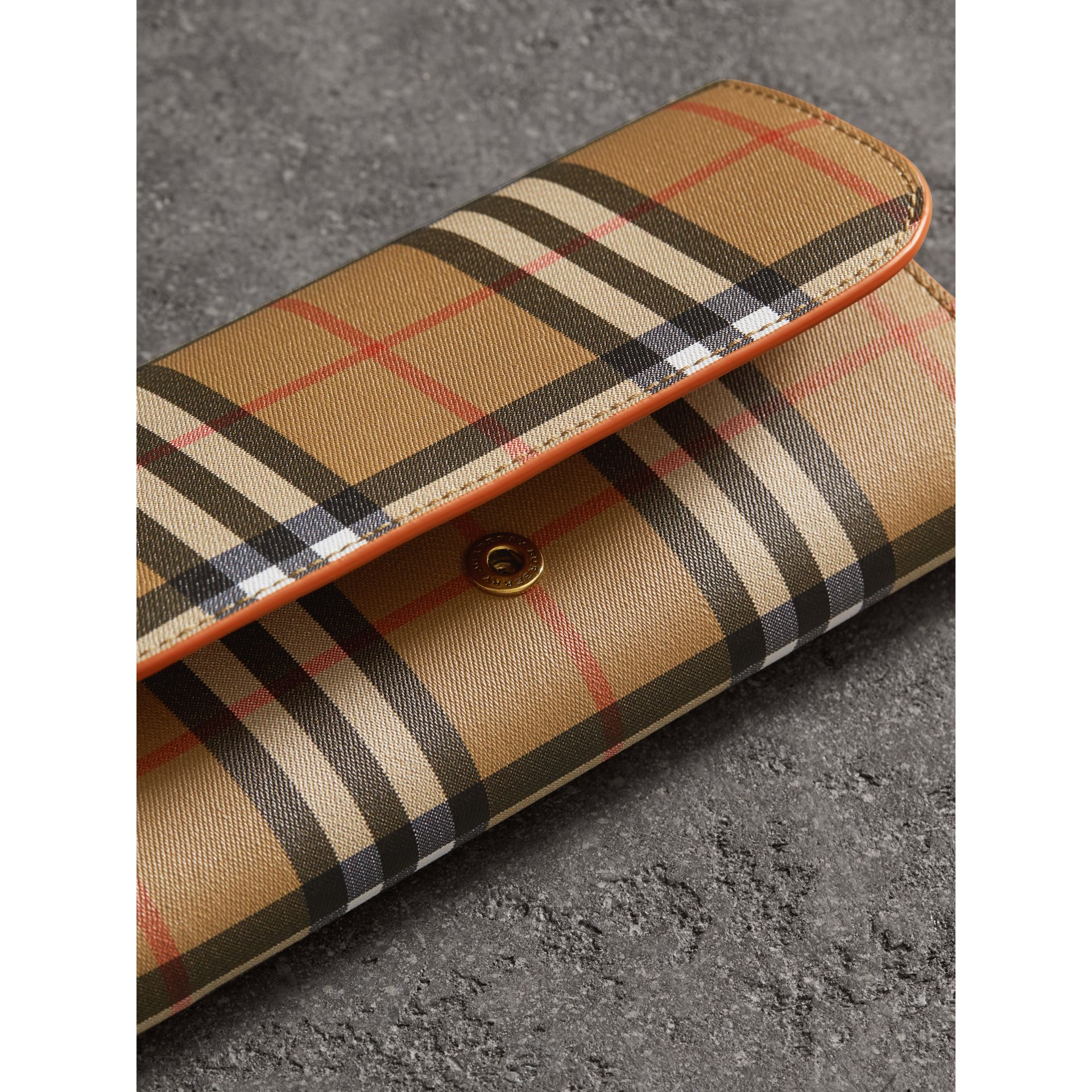 Vintage Check and Leather Continental Wallet in Clementine - Women | Burberry Hong Kong - gallery image 1