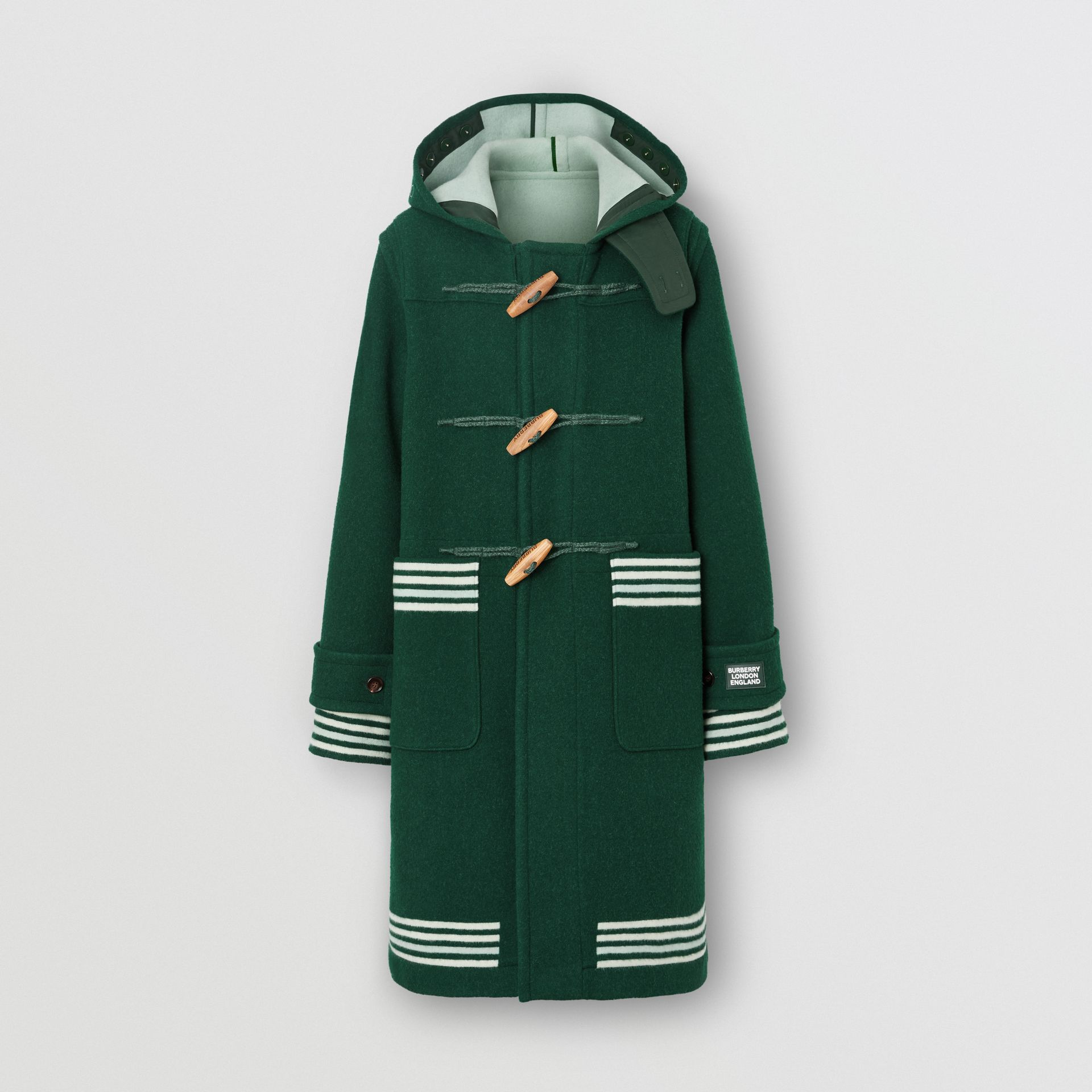 Stripe Detail Double-faced Wool Duffle Coat in Dark Pine Green - Men | Burberry United Kingdom - gallery image 3