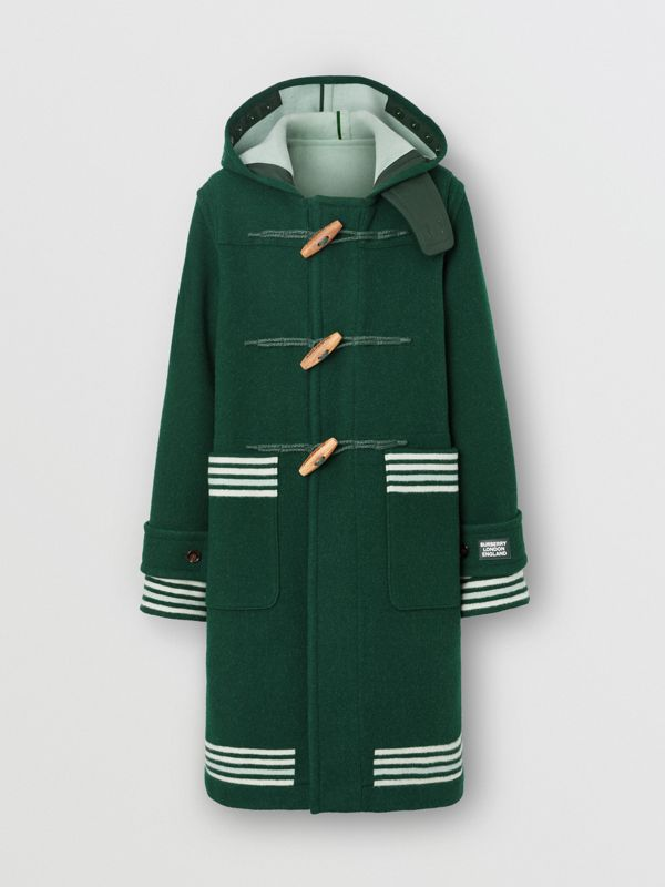 Stripe Detail Double-faced Wool Duffle Coat in Dark Pine Green - Men | Burberry United Kingdom - cell image 3