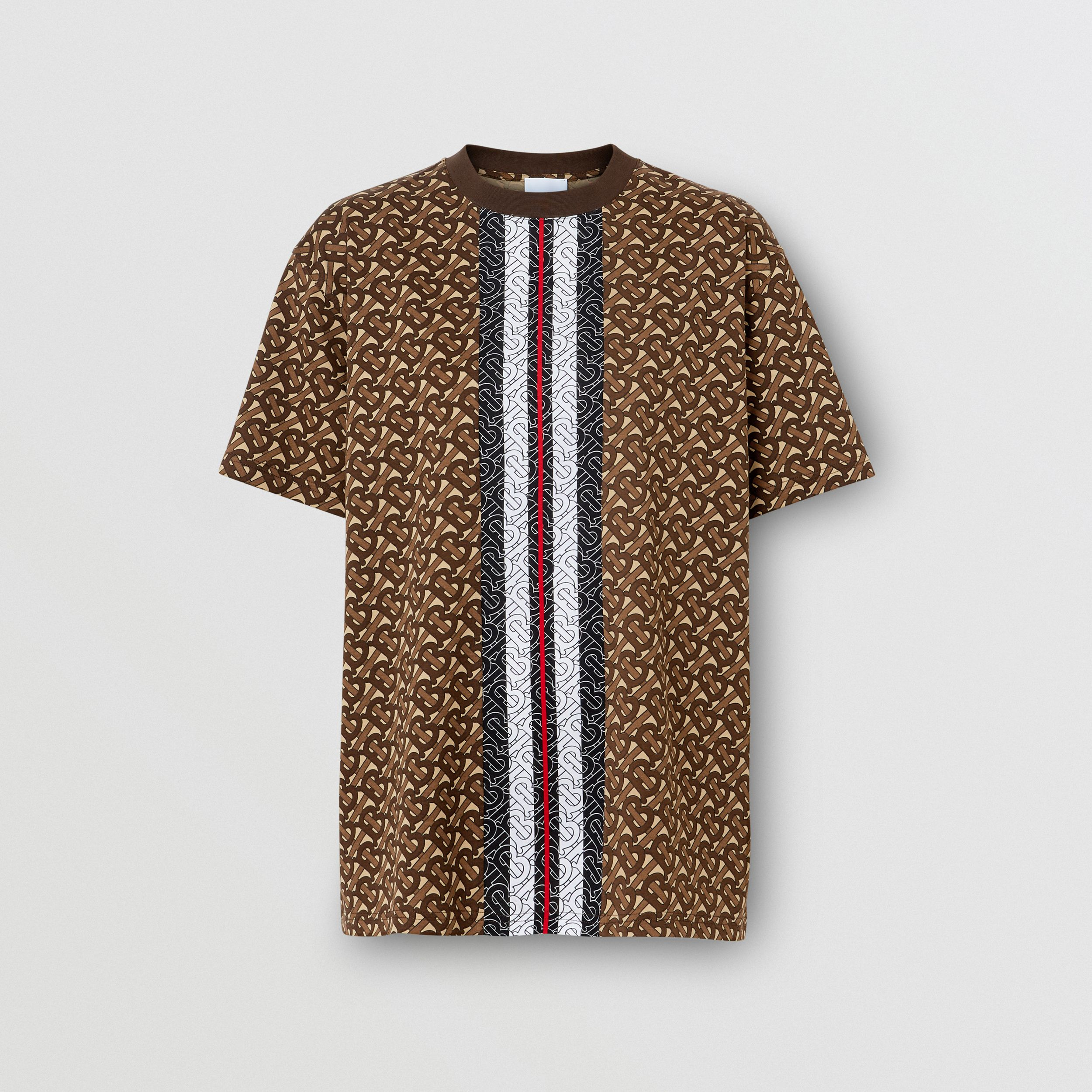 Monogram Stripe Print Cotton Oversized T-shirt in Bridle Brown - Women | Burberry - 4