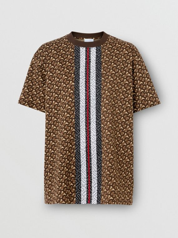 Monogram Stripe Print Cotton Oversized T-shirt in Bridle Brown