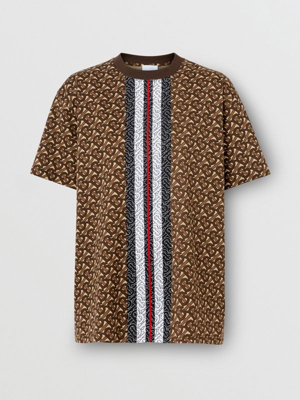 Monogram Stripe Print Cotton Oversized T-shirt in Bridle Brown - Women | Burberry Singapore - cell image 3