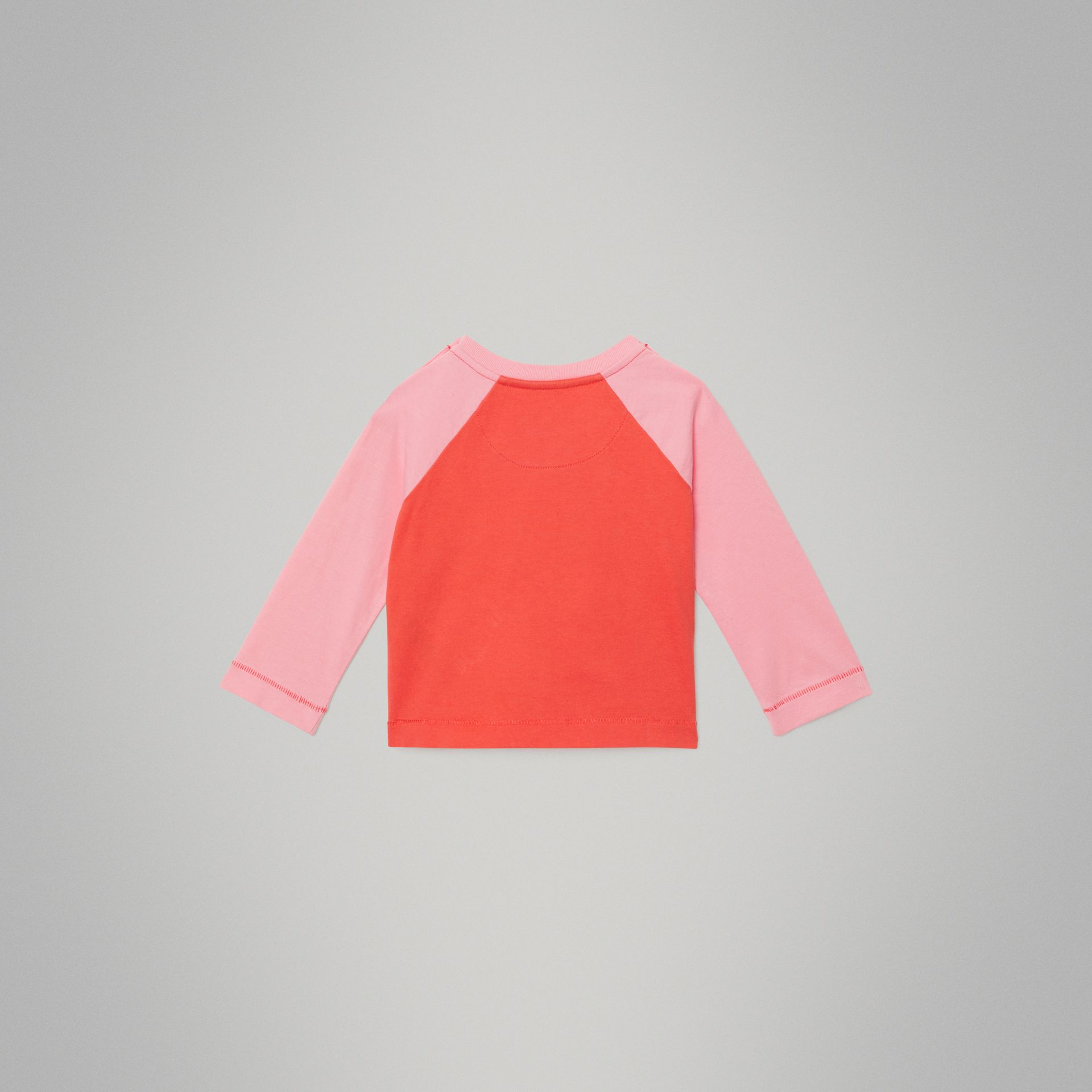 Archive Logo Print Two-tone Cotton Top in Military Red - Children | Burberry United Kingdom - gallery image 3