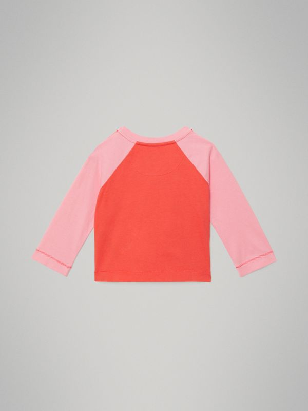 Archive Logo Print Two-tone Cotton Top in Military Red - Children | Burberry - cell image 3
