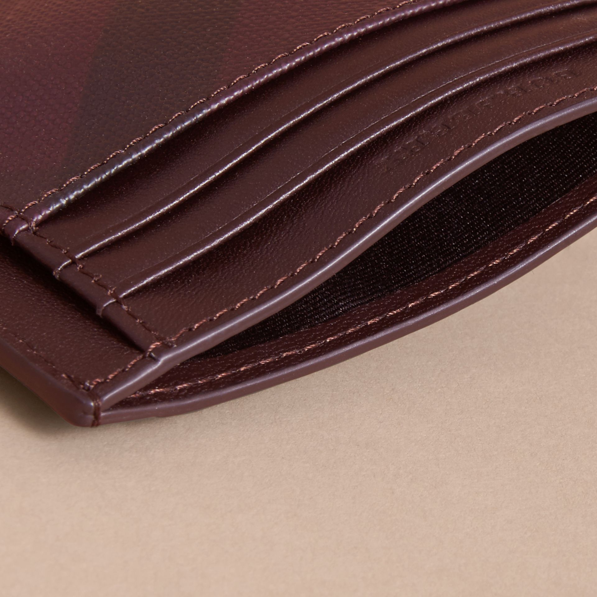 London Check Card Case in Deep Claret - Men | Burberry - gallery image 3