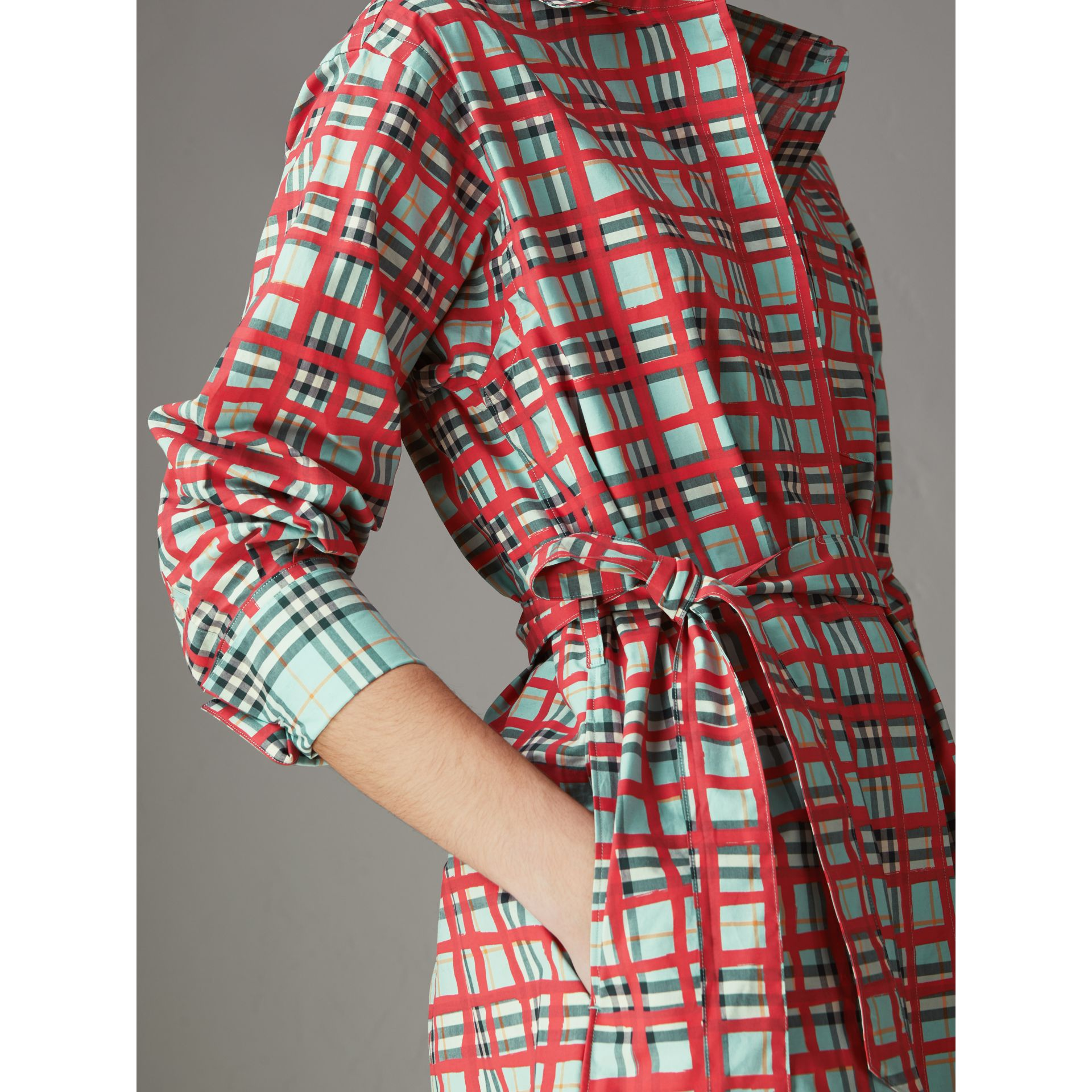 Painted Check Cotton Tie-waist Shirt Dress in Bright Aqua - Women | Burberry Singapore - gallery image 1