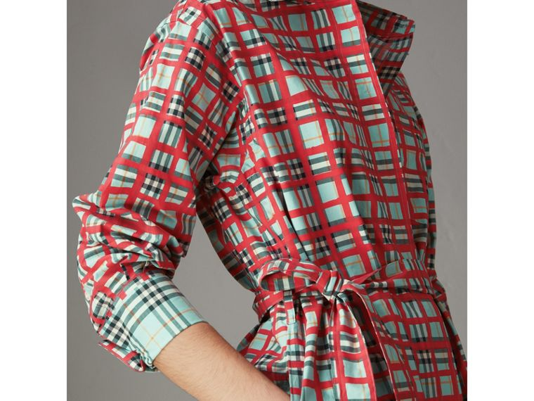 Painted Check Cotton Tie-waist Shirt Dress in Bright Aqua - Women | Burberry - cell image 1