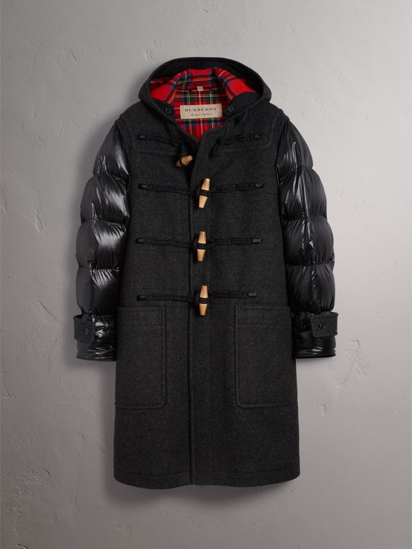 Down-filled Sleeve Wool Blend Duffle Coat in Dark Charcoal Melang - Men | Burberry - cell image 3