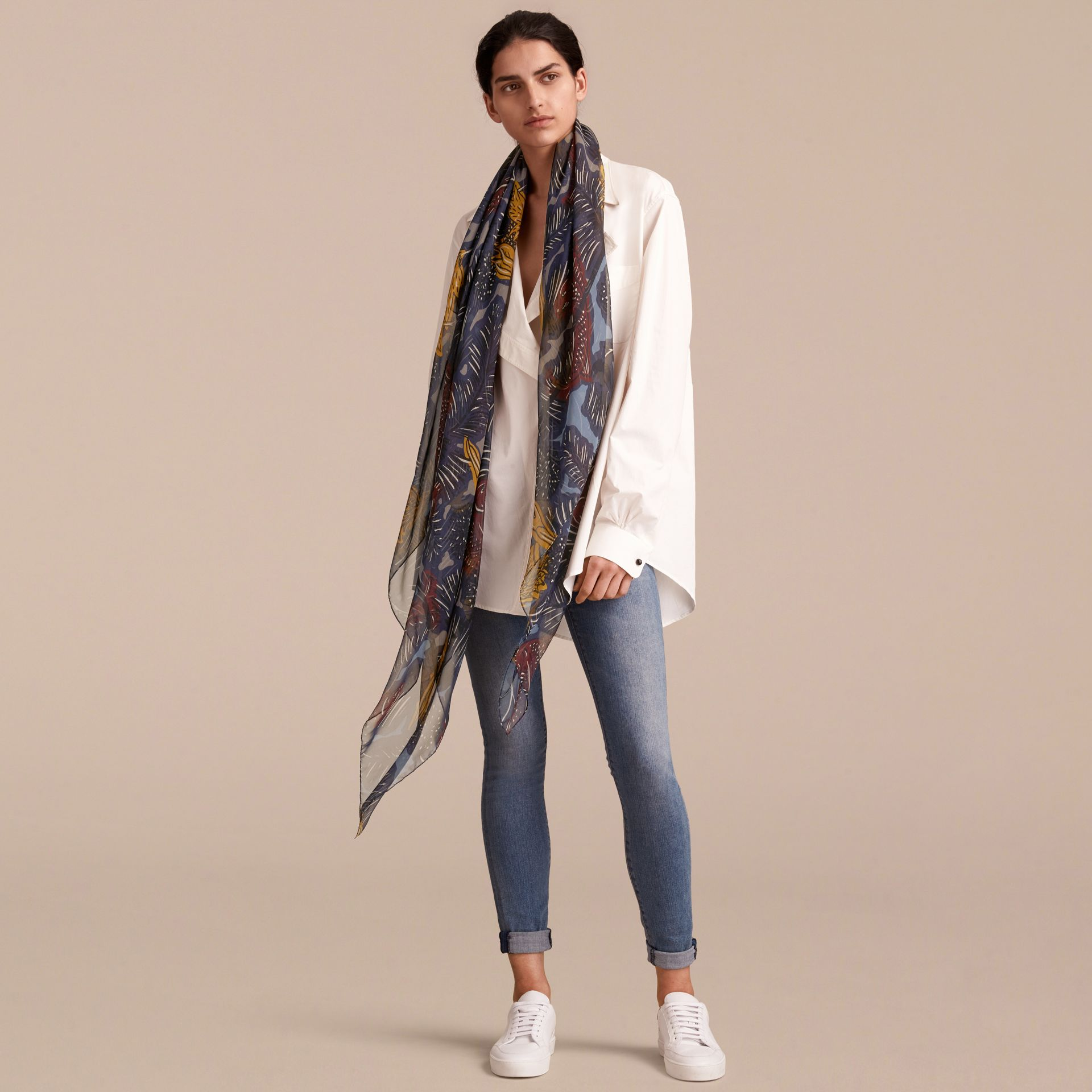 Beasts Print Lightweight Silk Scarf in Navy Grey - Women | Burberry - gallery image 3