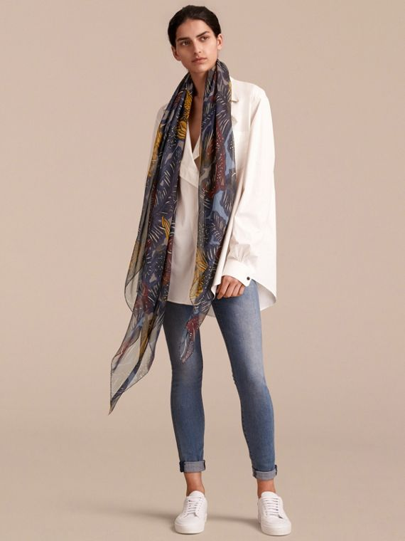 Beasts Print Lightweight Silk Scarf in Navy Grey - Women | Burberry - cell image 2