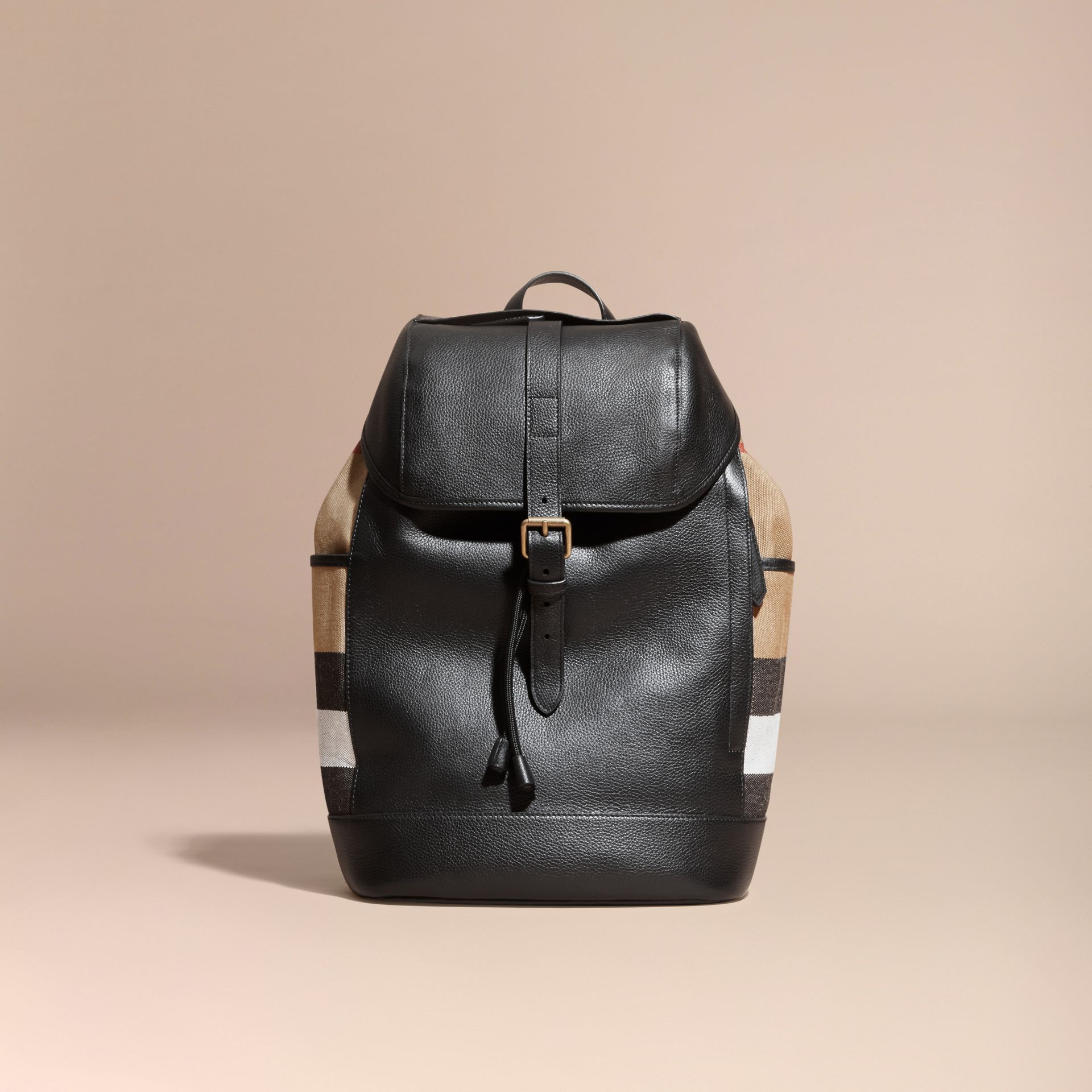Black Leather and Canvas Check Backpack - gallery image 7