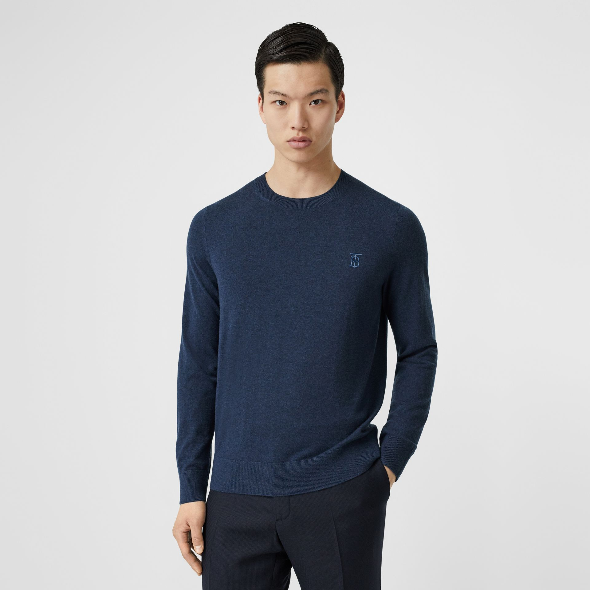 Monogram Motif Cashmere Sweater in Uniform Blue Melange - Men | Burberry - gallery image 0