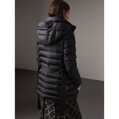 Hooded Down Filled Puffer Jacket In Navy Women