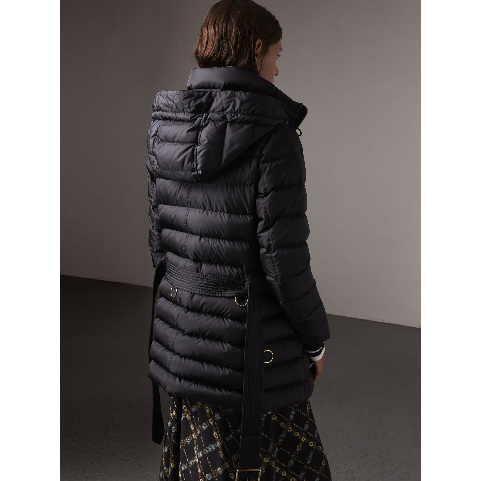 Hooded Down-filled Puffer Jacket in Navy - Women | Burberry - gallery image 3