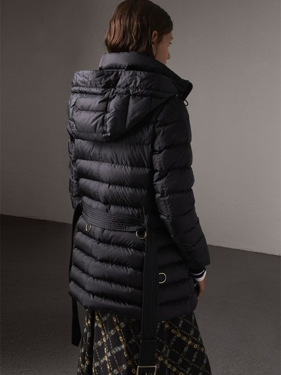 Hooded Down-filled Puffer Jacket in Navy - Women | Burberry Singapore - cell image 2