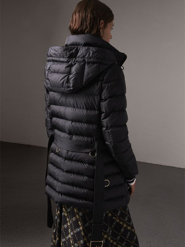 Hooded Down-filled Puffer Jacket in Navy - Women | Burberry United Kingdom - cell image 2