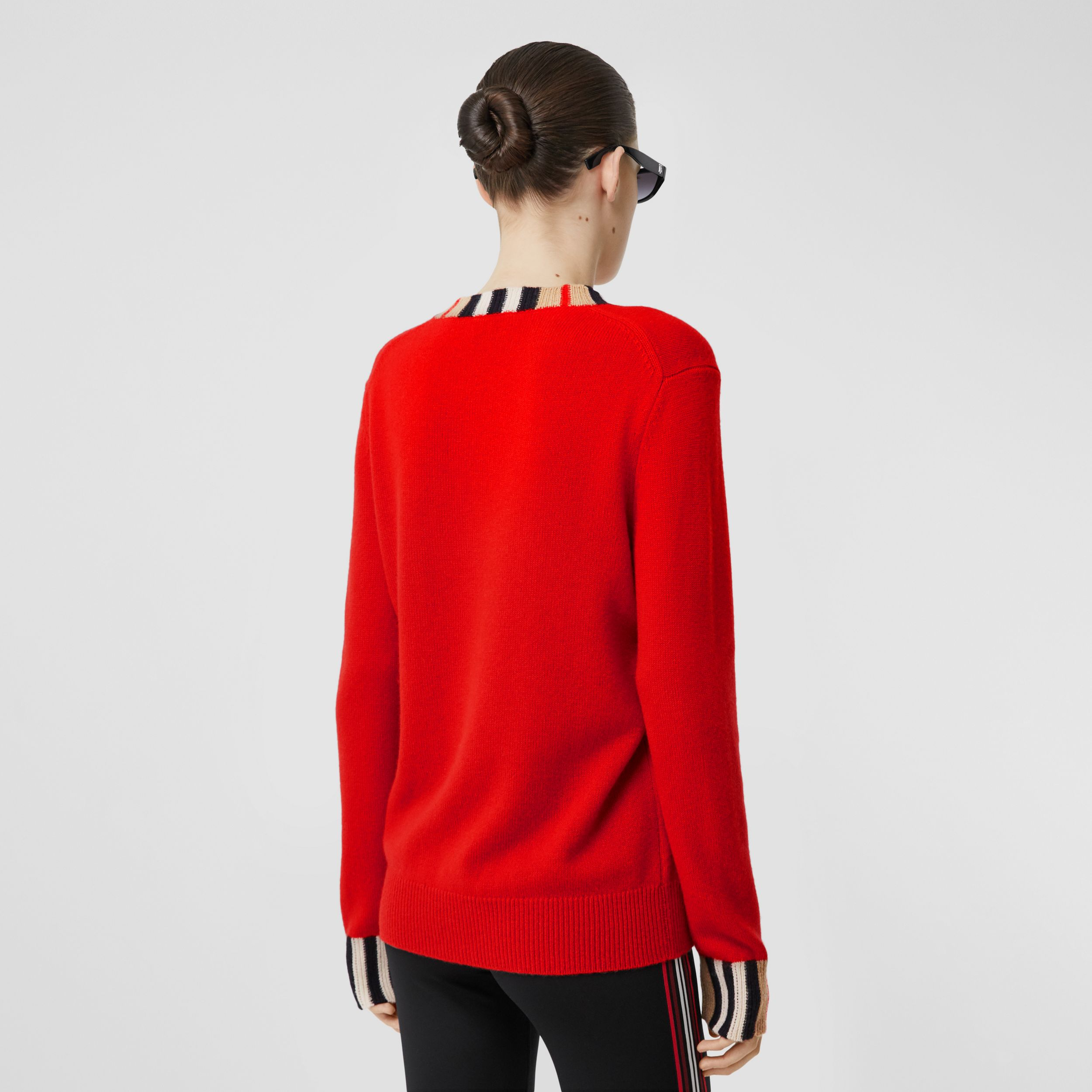 Icon Stripe Trim Cashmere Sweater in Bright Red - Women | Burberry - 3