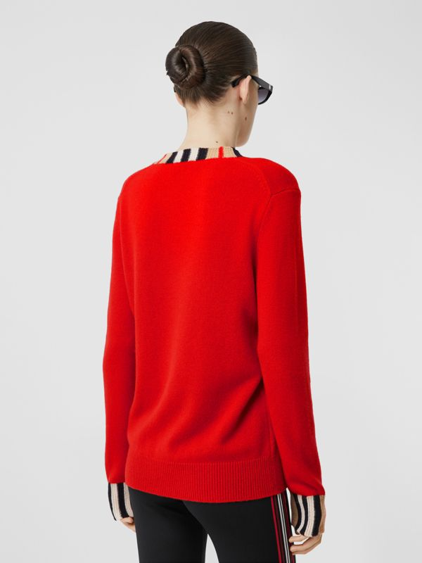 Icon Stripe Trim Cashmere Sweater in Bright Red - Women | Burberry - cell image 2