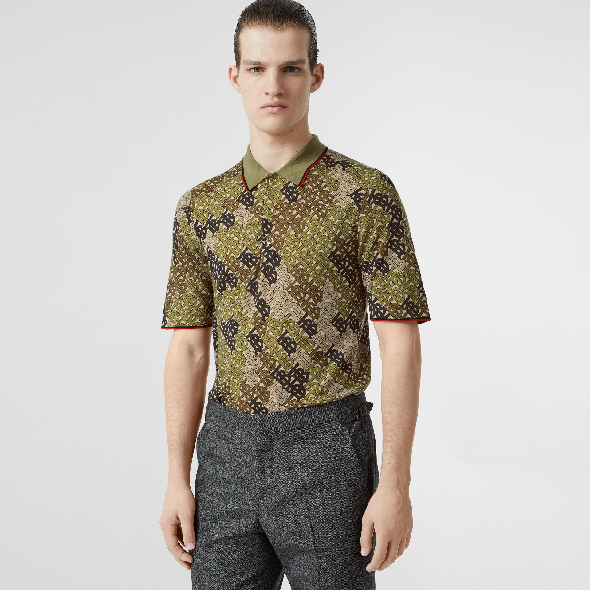 Monogram Print Tipped Merino Wool Polo Shirt in Khaki - Men | Burberry - gallery image 0