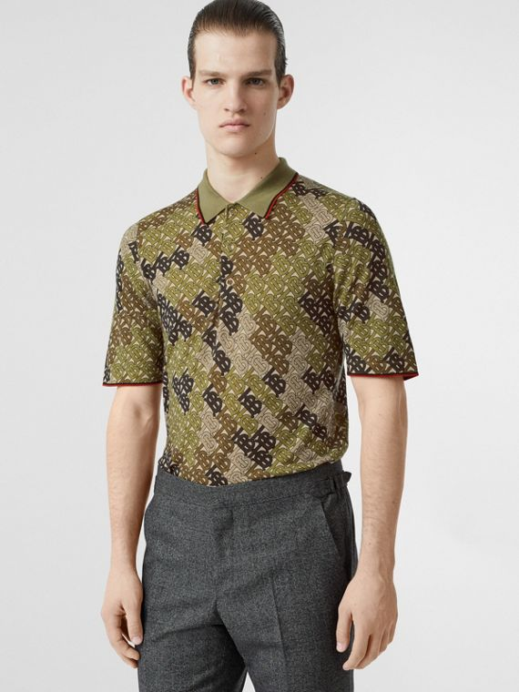 Monogram Print Tipped Merino Wool Polo Shirt in Khaki