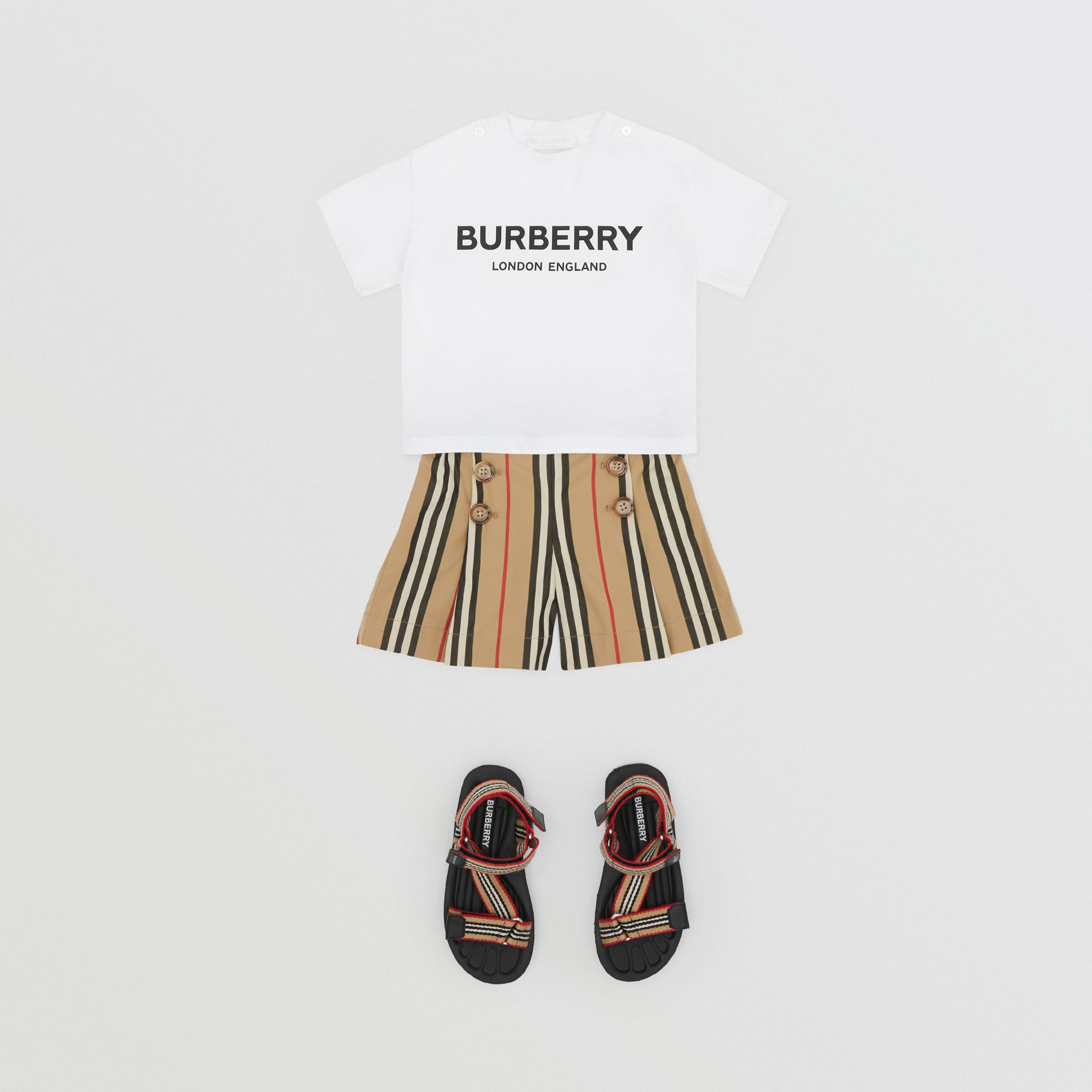 Icon Stripe Cotton Poplin Sailor Shorts in Archive Beige - Children | Burberry - 3