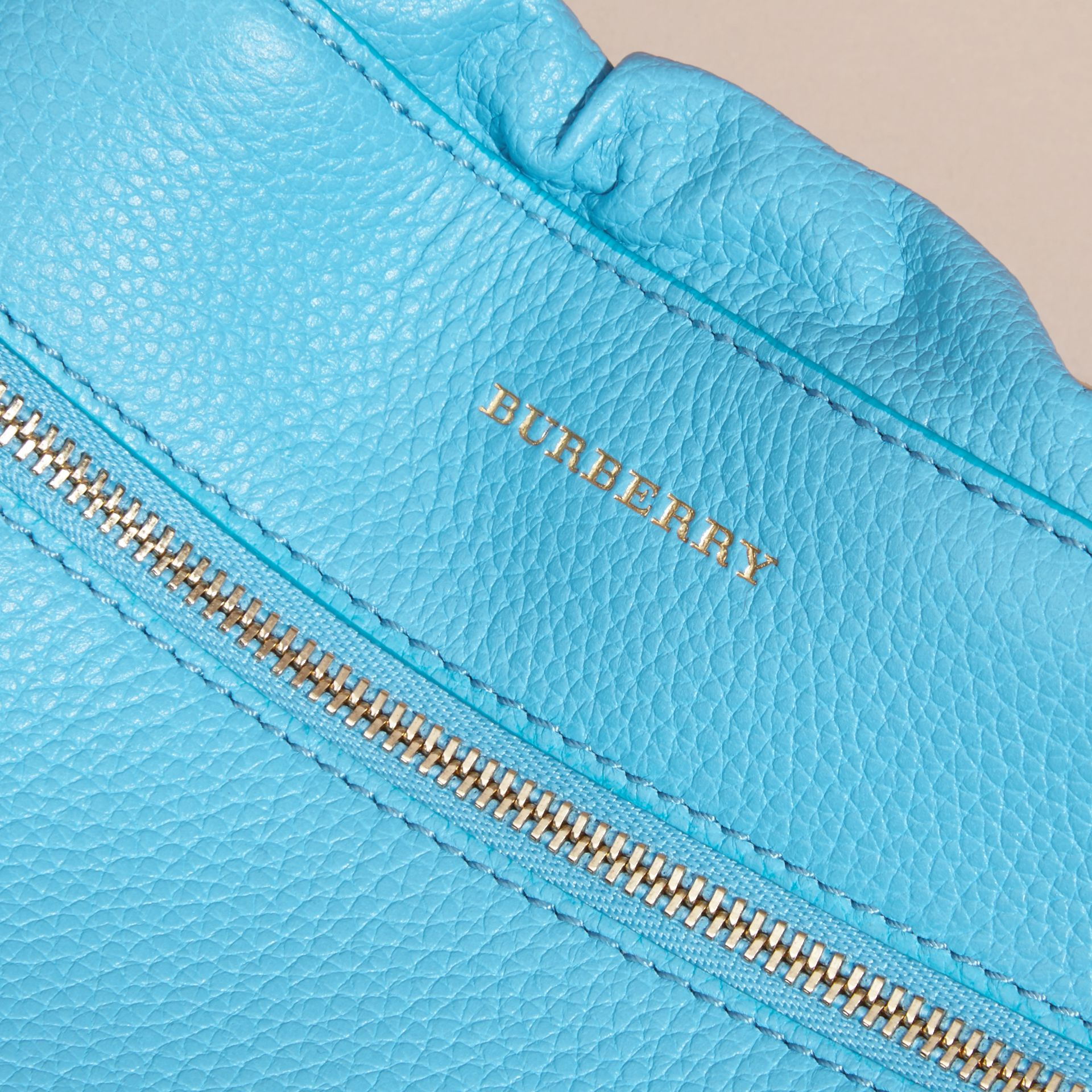 Bright mineral blue The Mini Crush in Grainy Leather Bright Mineral Blue - gallery image 2